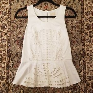 NWT H&M White Embroidered Peplum Top
